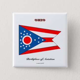 Ohio state flag and slogan 2 inch square button