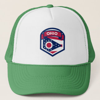 Ohio State Flag Crest Shaped Trucker Hat