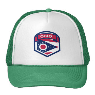Ohio State Flag Crest Shaped Trucker Hat