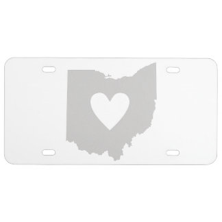 Ohio State Shape with Heart License Plate