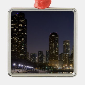 Ohio Street Beach in downtown Chicago at night, Metal Ornament
