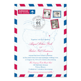 Ohio to Mexico Airmail | WEDDING Card