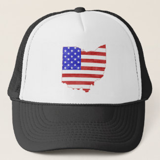 Ohio USA flag silhouette state map Trucker Hat