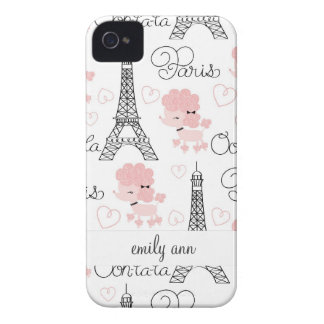 Ohlala Cute Paris Poodle and Eiffel Tower Pattern iPhone 4 Covers