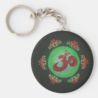 ohm basic round button keychain