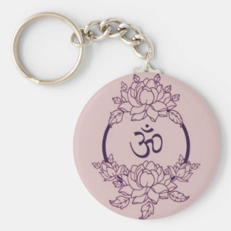 Ohm Flower Circle Keychain