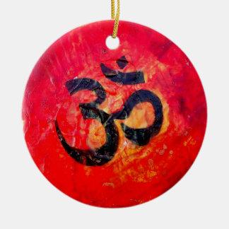 Ohm Round Ceramic Ornament