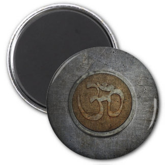 Ohm Sign On Metallic Distressed Background 2 Inch Round Magnet