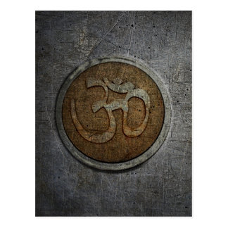 Ohm Sign On Metallic Distressed Background Postcard