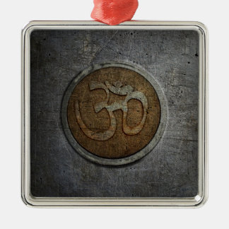Ohm Sign On Metallic Distressed Background Silver-Colored Square Ornament