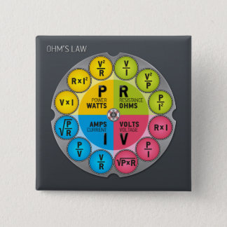 Ohm's Law Circle 2 Inch Square Button