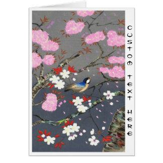 Ohno Bakufu Cherry Blossoms bluebird shin hanga Card