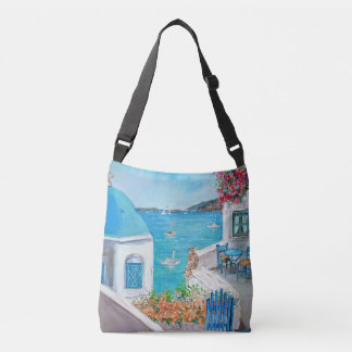 Oia blue domed church - crossbody bag