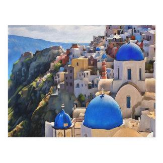 Oia, Santorini. Greece. Oil Painting. Postcards