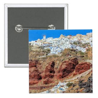 Oia village on Santorini island, north, Greece 2 Inch Square Button