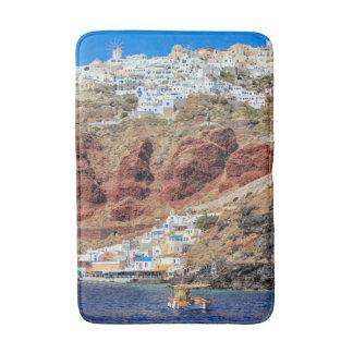 Oia village on Santorini island, north, Greece Bathroom Mat