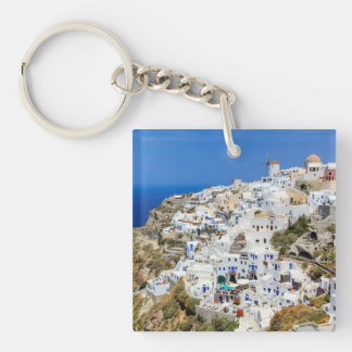 Oia village on Santorini island, north, Greece Double-Sided Square Acrylic Keychain