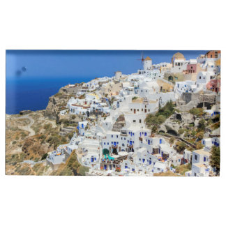 Oia village on Santorini island, north, Greece Place Card Holder