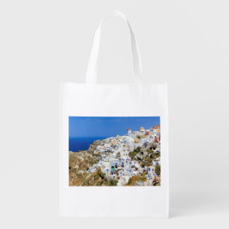Oia village on Santorini island, north, Greece Reusable Grocery Bags