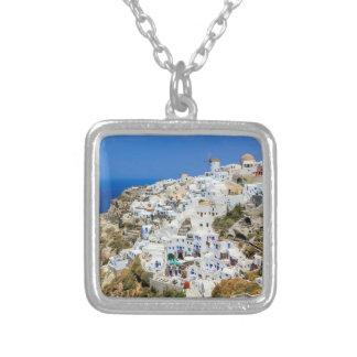 Oia village on Santorini island, north, Greece Silver Plated Necklace