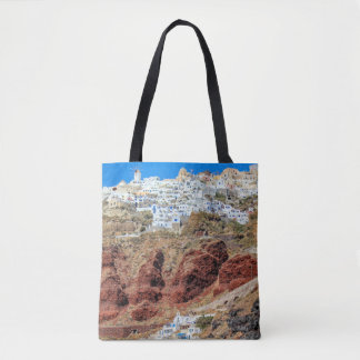 Oia village on Santorini island, north, Greece Tote Bag