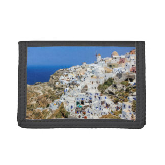 Oia village on Santorini island, north, Greece Trifold Wallet