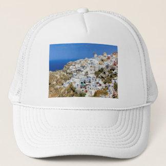 Oia village on Santorini island, north, Greece Trucker Hat