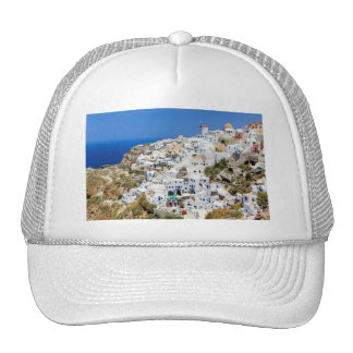 Oia village on Santorini island, north, Greece Trucker Hat
