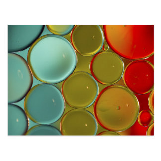 Oil bubbles with colored background. postcard