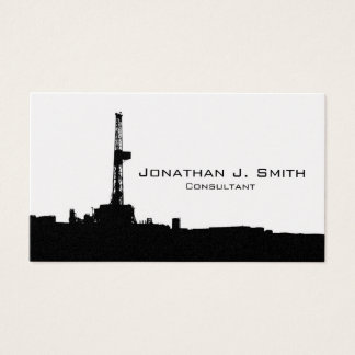 Oil Drilling Rig Site Black Silhouette Business Card