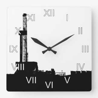 Oil Drilling Rig Square Wall Clock