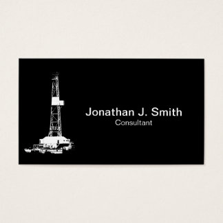 Oil Drilling Rig White Silhouette Business Card