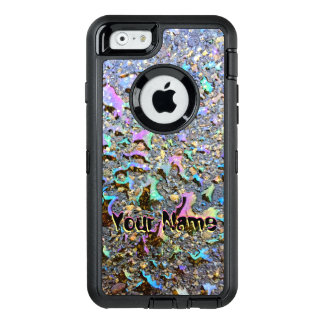 Oil Drops with Iridescent Reflections and Name OtterBox Defender iPhone Case