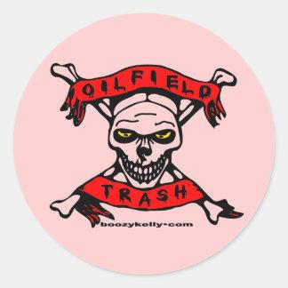 Oil Field Trash,Oil Field Gal,Skull & Crossbones Classic Round Sticker