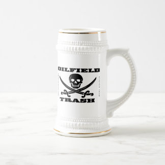 Oil Field Trash,Skull & Crossbones,Beer Mug,Oil Beer Stein