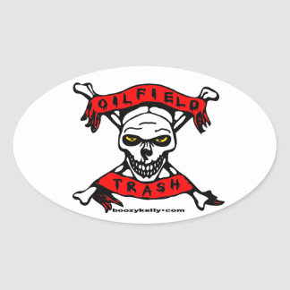 Oil Field Trash,Skull & Crossbones,Oil,Gas,Rigs Oval Sticker