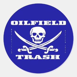 Oil Field Trash,Sticker,Skull & Crossbones,Oil Classic Round Sticker