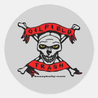 Oil Field Trash,Sticker,Skull,Jolly Roger,Oil Rigs Classic Round Sticker