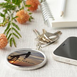 Oil Fields monogram Silver-Colored Round Keychain