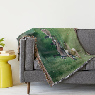 Oil painted Canadian geese Throw Blanket