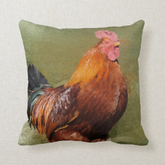Oil Painted Chicken Throw Pillow