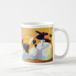 Oil painting calico cat basic white mug