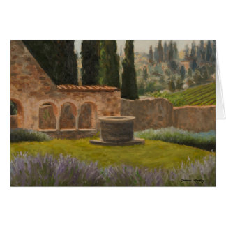 Oil Painting Landscape Church Ruins Tuscany Italy Card