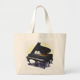 Oil Painting : My Piano Large Tote Bag