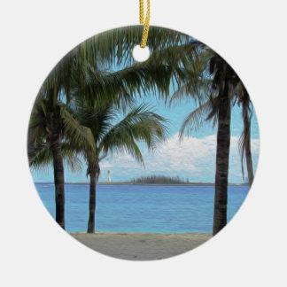 Oil Painting Nassau Bahamas Round Ceramic Ornament