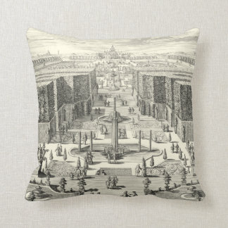 Oil Painting of Fountains at Garden of Versailles Throw Pillow