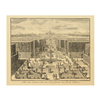Oil Painting of Fountains at Garden of Versailles Wood Wall Art
