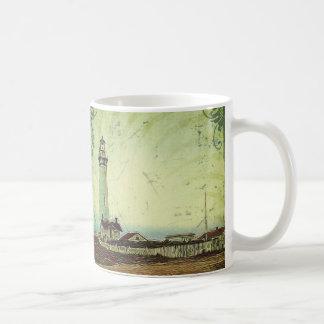oil painting seashore nautical beach Lighthouse Coffee Mug