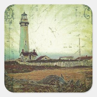 oil painting seashore nautical beach Lighthouse Square Sticker