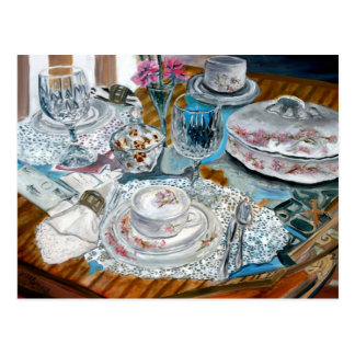 oil painting still life china tea set dinnerware postcard